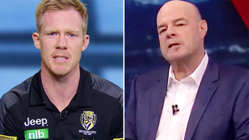 Jack Riewoldt, pictured here firing back at Mark Robinson on AFL 360.