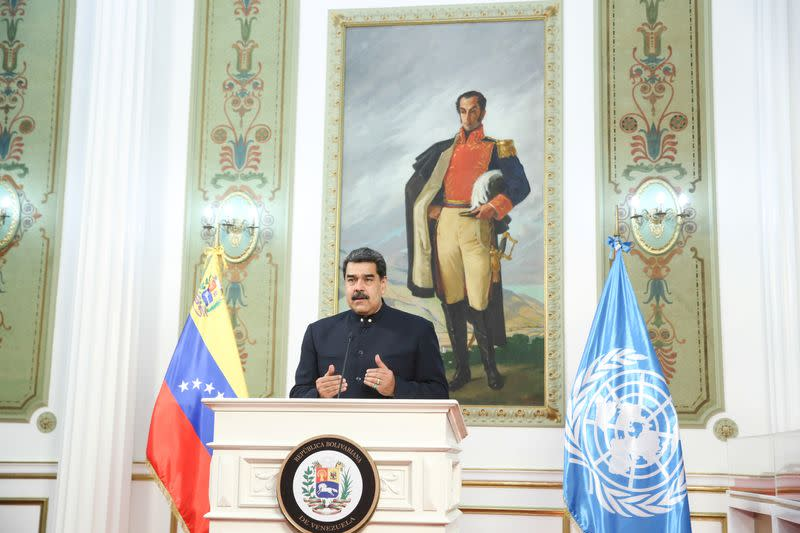 FILE PHOTO: Venezuela's President Maduro speaks virtually from Caracas during the 75th annual U.N. General Assembly