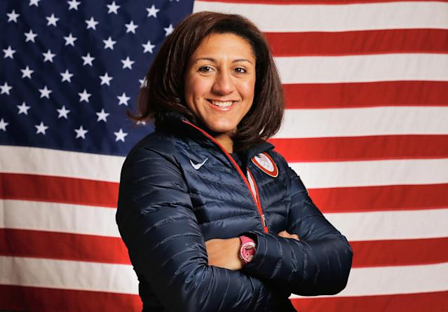 SOCHI, RUSSIA - FEBRUARY 03: (BROADCAST-OUT) Elana Meyers of the United States Bobsled team poses for a portrait ahead of the Sochi 2014 Winter Olympics on February 3, 2014 in Sochi, Russia. (Photo by Scott Halleran/Getty Images)