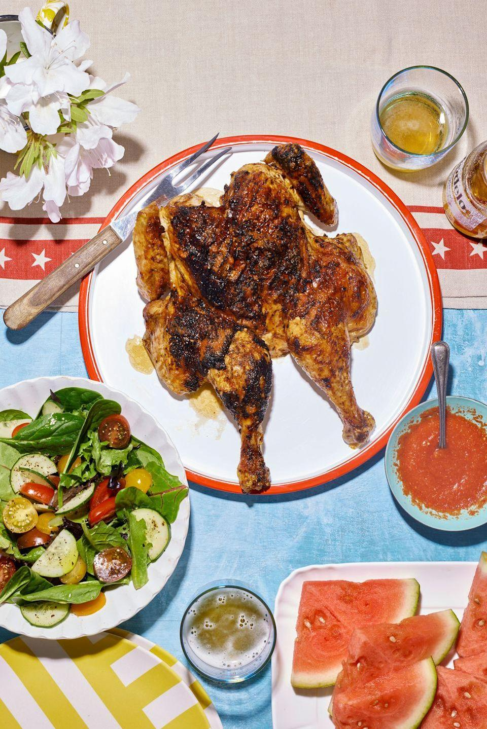 """<p>What to really up the wow-factor this Fourth of July? This spicy bird is a surefire centerpiece hit.<br></p><p><strong><a href=""""https://www.countryliving.com/food-drinks/a36742472/spatchcock-chicken-with-piri-piri-sauce-recipe/"""" rel=""""nofollow noopener"""" target=""""_blank"""" data-ylk=""""slk:Get the recipe"""" class=""""link rapid-noclick-resp"""">Get the recipe</a>.</strong></p>"""