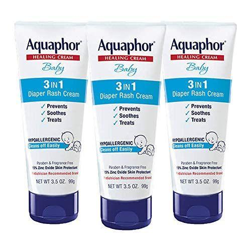 """<p><strong>Aquaphor</strong></p><p>amazon.com</p><p><a href=""""https://www.amazon.com/dp/B00Q2MYU9W?tag=syn-yahoo-20&ascsubtag=%5Bartid%7C2139.g.32905087%5Bsrc%7Cyahoo-us"""" rel=""""nofollow noopener"""" target=""""_blank"""" data-ylk=""""slk:BUY IT HERE"""" class=""""link rapid-noclick-resp"""">BUY IT HERE</a></p><p>A simple diaper rash cream provides a moisturizing barrier, according to dermatologist <a href=""""https://www.youtube.com/watch?v=XtuTWykRiMo"""" rel=""""nofollow noopener"""" target=""""_blank"""" data-ylk=""""slk:Andrea Suarez, M.D"""" class=""""link rapid-noclick-resp"""">Andrea Suarez, M.D</a>. She likes Aquaphor's 3-in-1 diaper rash cream because it doesn't contain any fragrances, she explained in YouTube video. </p>"""