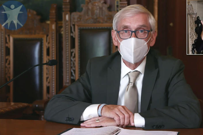 FILE - This July 30, 2020, image taken from video by the Wisconsin Department of Health Services shows Wisconsin Gov. Tony Evers in Madison, Wis. Gov. Evers has issued a new statewide mask order an hour after the Republican-controlled Legislature voted to repeal his previous mandate on Thursday, Feb. 4, 2021. The Democrat Evers said in a video message Thursday that his priority is keeping people safe and that wearing a mask was the most basic way to do that. The mandate, saying masks are probably the most effective way to slow the spread of COVID-19. (Wisconsin Department of Health Services via the AP, File)