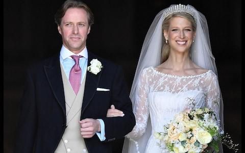Lady Gabriella Windsor and Thomas Kingston emerging from St George's Chapel - Credit: Andrew Parsons/i-Images Picture Agency