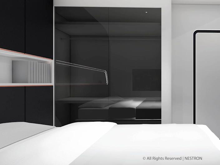 rendering of a bedroom with a bed next to a reflective wall