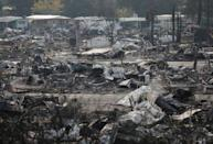 The remains of a mobile home park where fatalities took place when it was destroyed in wildfire are seen in Santa Rosa, California, U.S., October 15, 2017. REUTERS/Jim Urquhart