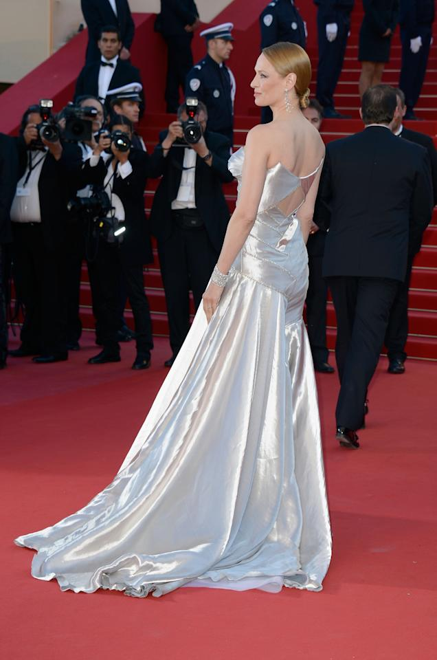 CANNES, FRANCE - MAY 26:  Actress Uma Thurman attends the 'Zulu' Premiere and Closing Ceremony during the 66th Annual Cannes Film Festival at the Palais des Festivals on May 26, 2013 in Cannes, France.  (Photo by Pascal Le Segretain/Getty Images)