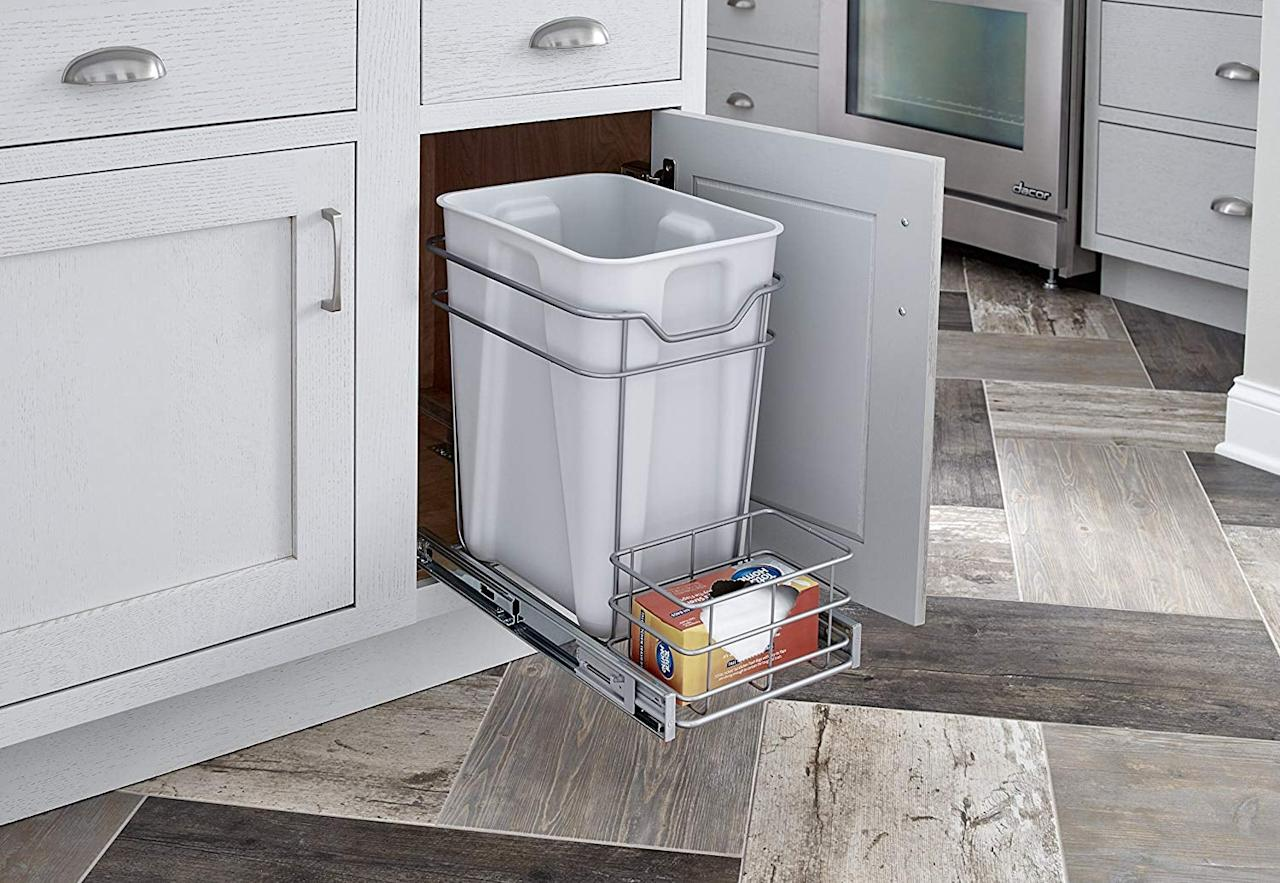 "<p>Upgrade your trash area with this <a href=""https://www.popsugar.com/buy/ClosetMaid-Premium-24-Quart-Cabinet-Pull-Out-Trash-Bin-484272?p_name=ClosetMaid%20Premium%2024-Quart%20Cabinet%20Pull-Out%20Trash%20Bin&retailer=amazon.com&pid=484272&price=42&evar1=casa%3Auk&evar9=46595837&evar98=https%3A%2F%2Fwww.popsugar.com%2Fhome%2Fphoto-gallery%2F46595837%2Fimage%2F46595949%2FClosetMaid-Premium-24-Quart-Cabinet-Pull-Out-Trash-Bin&list1=shopping%2Camazon%2Corganization%2Ckitchens%2Chome%20organization%2Chome%20shopping&prop13=api&pdata=1"" rel=""nofollow"" data-shoppable-link=""1"" target=""_blank"" class=""ga-track"" data-ga-category=""Related"" data-ga-label=""https://www.amazon.com/ClosetMaid-32102-Premium-Quart-Cabinet/dp/B01LZXTY97"" data-ga-action=""In-Line Links"">ClosetMaid Premium 24-Quart Cabinet Pull-Out Trash Bin</a> ($42).</p>"