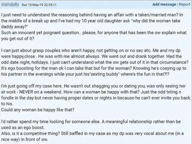 The Mumsnet user, whose username has been blurred for anonymity, shared the moving post. [Photo: Mumsnet]