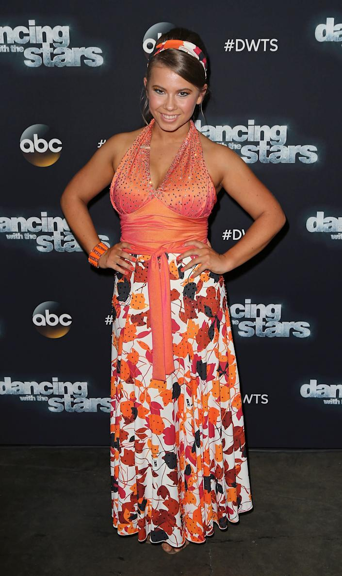 Actress/ wildlife conservationist Bindi Irwin attends 'Dancing with the Stars' Season 21 at CBS Televison City on September 28, 2015 in Los Angeles, California.