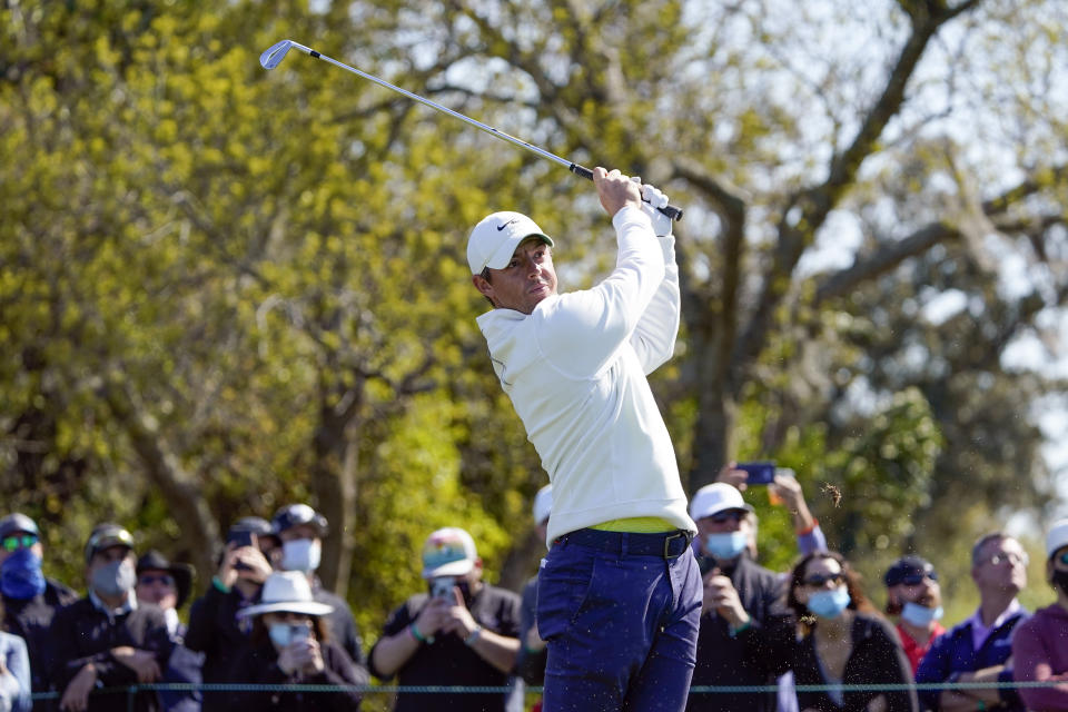 Rory McIlroy, of Northern Ireland, hits a shot from the seventh tee during the final round of the Arnold Palmer Invitational golf tournament Sunday, March 7, 2021, in Orlando, Fla. (AP Photo/John Raoux)