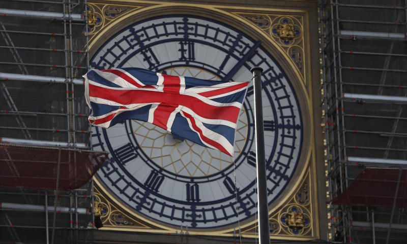 "The Union flag of Great Britain and Northern Ireland flies in front of the clock face of the Queen Elizabeth Tower, that holds the bell known as 'Big Ben"", part of the Houses of Parliament in London, Thursday, Oct. 10, 2019. Britain's Prime Minister Boris Johnson is to meet the Irish Prime Minister Leo Varadkar later Thursday for talks on Brexit. The Houses of parliament are undergoing restoration works. (AP Photo/Alastair Grant)"