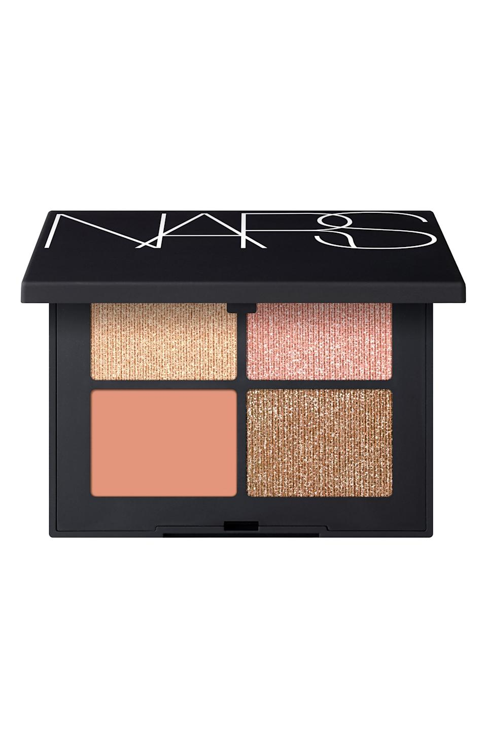 """<p><strong>NARS</strong></p><p>nordstrom.com</p><p><strong>$52.00</strong></p><p><a href=""""https://go.redirectingat.com?id=74968X1596630&url=https%3A%2F%2Fwww.nordstrom.com%2Fs%2Fnars-quad-eyeshadow-palette%2F5030868&sref=https%3A%2F%2Fwww.cosmopolitan.com%2Fstyle-beauty%2Fbeauty%2Fg36596599%2Fbest-eyeshadow-palettes%2F"""" rel=""""nofollow noopener"""" target=""""_blank"""" data-ylk=""""slk:Shop Now"""" class=""""link rapid-noclick-resp"""">Shop Now</a></p><p>I know, <em>I know</em>—in what world is a beginner palette over 50 bucks?! But listen—these velvety formulas basically blend themselves, and the <strong>easy-to-wear shades can be blended as is, or dampened and used as <a href=""""https://www.cosmopolitan.com/style-beauty/beauty/g10229759/best-liquid-eyeliners/"""" rel=""""nofollow noopener"""" target=""""_blank"""" data-ylk=""""slk:liquid eyeliner"""" class=""""link rapid-noclick-resp"""">liquid eyeliner</a>.</strong> Try the soft, coral, champagne colors in this palette, or choose from one of the other color combos that fit your preference.</p>"""