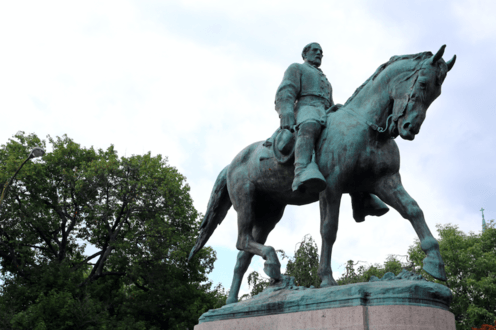 """<span class=""""caption"""">The statue of Robert Lee in Charlottesville.</span> <span class=""""attribution""""><span class=""""source"""">Shutterstock</span></span>"""