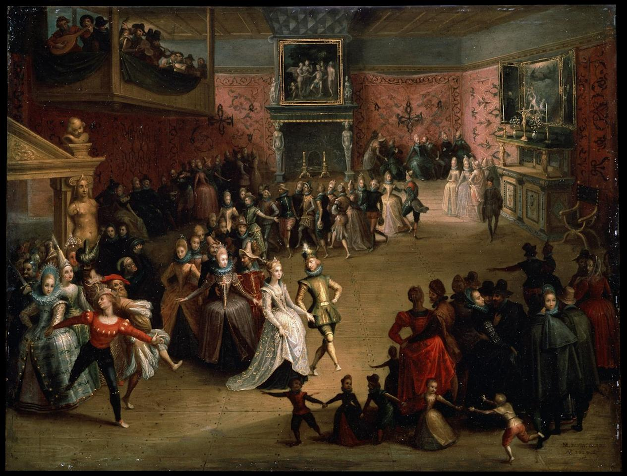 """<p>At a 17th century wedding ball, the bride (center) wears an ornately decorated blue dress. At this time, it was popular for a bride <a href=""""https://daily.jstor.org/a-natural-history-of-the-wedding-dress/"""" target=""""_blank"""">to wear her best dress</a>, no matter the color.</p>"""