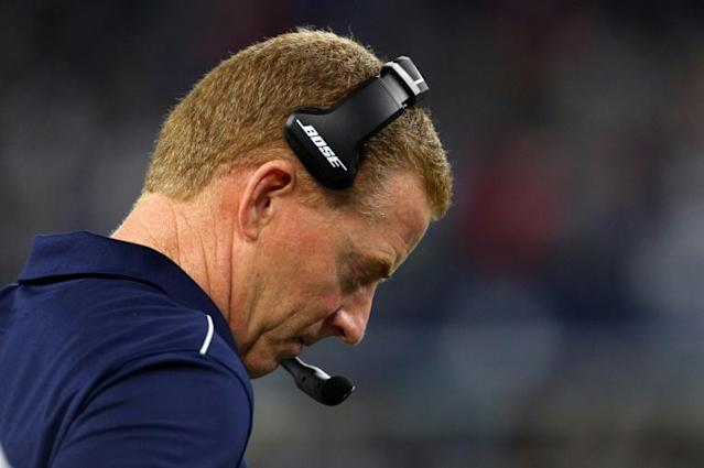 Dallas Cowboys head coach Jason Garrett stands on the sideline in the fourth quarter of his team's NFL loss to the Buffalo Bills (AFP Photo/Richard Rodriguez)