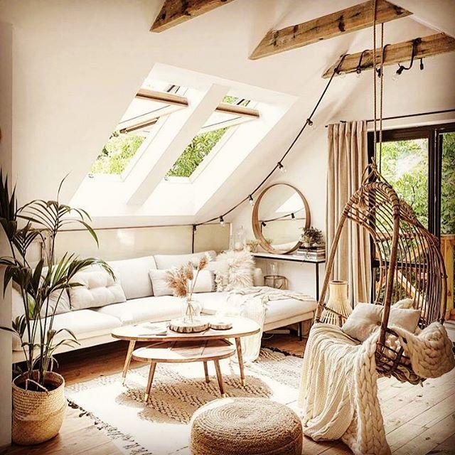 "<p>This loft living room has gorgeous wooden beams, a hanging egg chair and a cosy white sofa. What's not to love? </p><p><strong>READ MORE</strong>: <a href=""https://www.countryliving.com/uk/homes-interiors/interiors/g26662976/country-kitchen-ideas/"" rel=""nofollow noopener"" target=""_blank"" data-ylk=""slk:20 country kitchen ideas to fall in love with"" class=""link rapid-noclick-resp"">20 country kitchen ideas to fall in love with</a></p><p><a href=""https://www.instagram.com/p/CHXGqUnnrc3/"" rel=""nofollow noopener"" target=""_blank"" data-ylk=""slk:See the original post on Instagram"" class=""link rapid-noclick-resp"">See the original post on Instagram</a></p>"