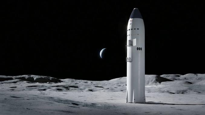 A notional view of SpaceX's winning moon lander proposal, a variant of its Starship upper stage. / Credit: NASA