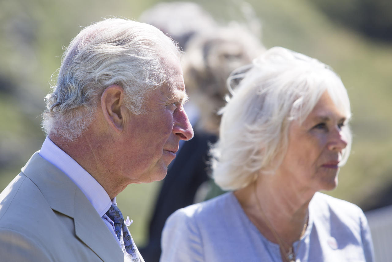 The Prince of Wales and the Duchess of Cornwall during a visit to Tintagel Castle while on a three day visit to Cornwall.