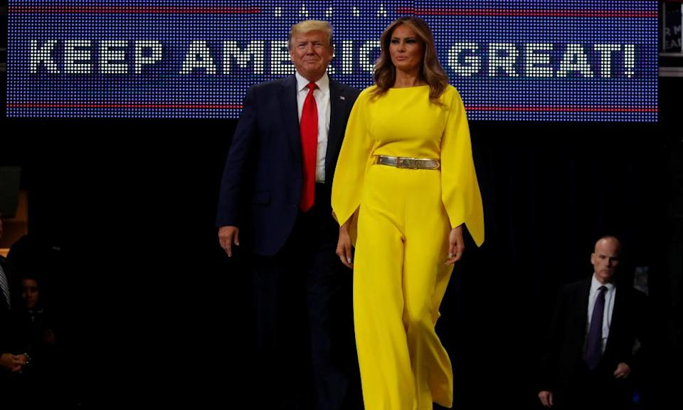 U.S. President Donald Trump and first lady Melania Trump arrive on stage to formally kick off his re-election bid with a campaign rally in Orlando, Florida, U.S., June 18, 2019.