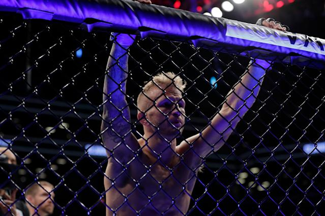 TJ Dillashaw has 'voluntarily relinquished' his UFC bantamweight title after USADA flagged him for an adverse finding following his last fight. (AP Photo/Frank Franklin II)