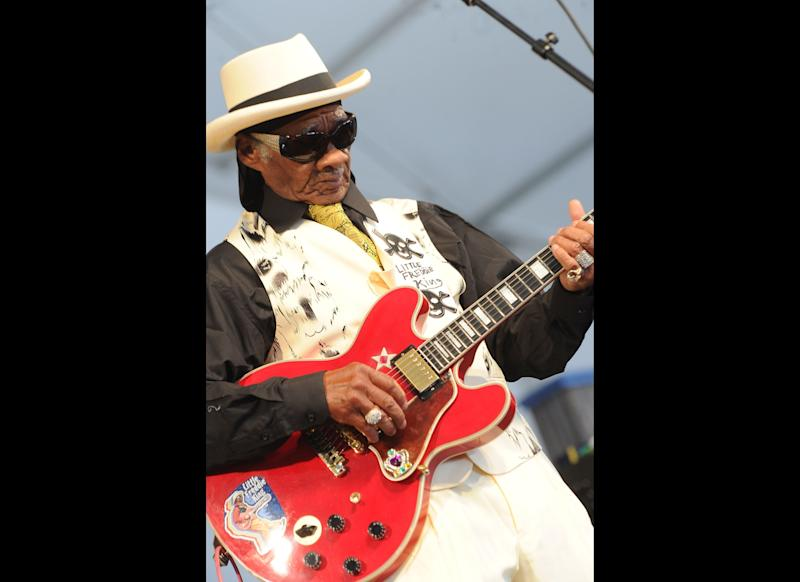 NEW ORLEANS, LA: Little Freddie King Blues Band performs during the 2011 New Orleans Jazz & Heritage Festival - Day 4 presented by Shell at The Fair Grounds Race Course on May 5, 2011 in New Orleans, Louisiana. (Photo by Rick Diamond/Getty Images)