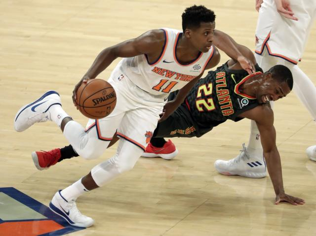 "<a class=""link rapid-noclick-resp"" href=""/nba/teams/nyk/"" data-ylk=""slk:New York Knicks"">New York Knicks</a> guard Frank Ntilikina has seen an increased workload of late, boosting his fantasy value. (EFE/EPA/JASON SZENES)"