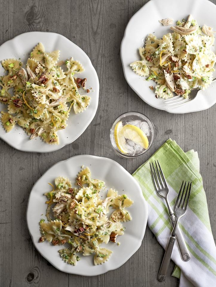 """<p>Pasta is always a great go-to when you're looking for a quick meal, but this dish with tasty chicken and a delicious creamy pesto makes it taste super decadent.<br></p><p><em><a href=""""https://www.womansday.com/food-recipes/food-drinks/recipes/a40364/creamy-chicken-broccoli-pesto-bow-ties-recipe-clx0215/"""" target=""""_blank"""">Get the Creamy Chicken-and-Broccoli Pesto Bow Ties recipe.</a></em></p>"""