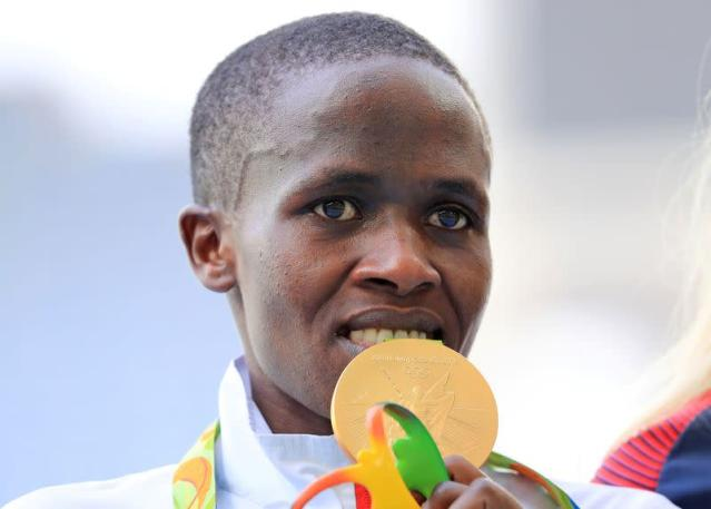 FILE PHOTO: Ruth Jebet of Bahrain poses with her Olympic gold medal