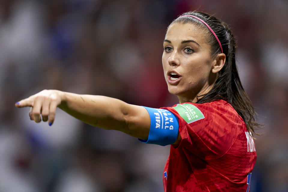 LYON, FRANCE - JULY 02: Alex Morgan of USA reacts during the 2019 FIFA Women's World Cup France Semi Final match between England and USA at Stade de Lyon on July 02, 2019 in Lyon, France. (Photo by Quality Sport Images/Getty Images)