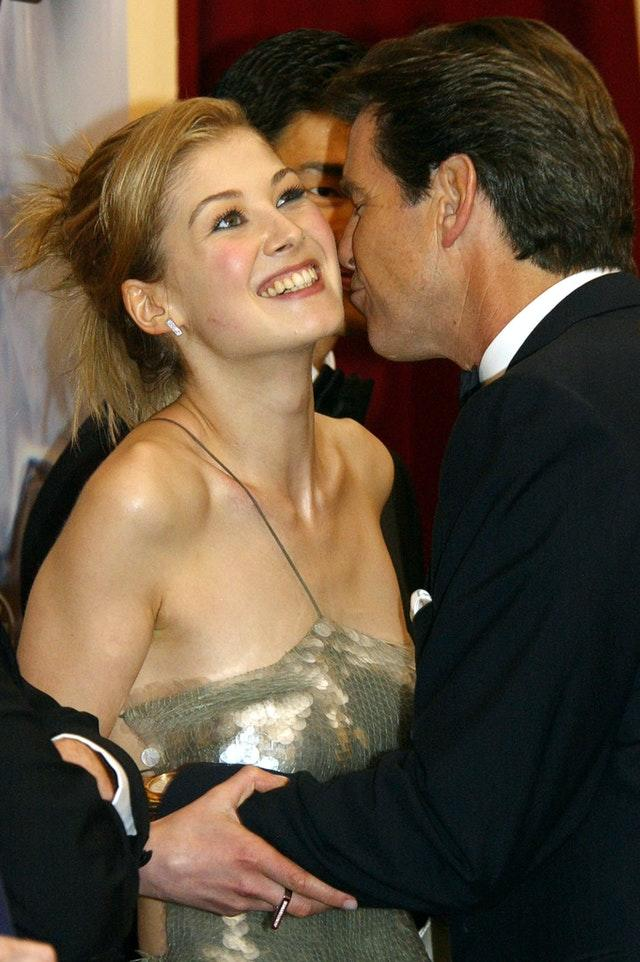 Pierce Brosnan and co-star Rosamund Pike