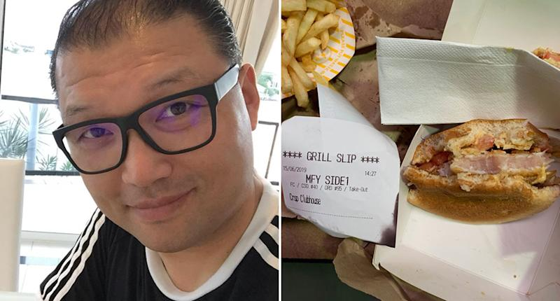 Pictured is Joseph Kim next to a McDonald's Clubhouse Chicken Burger he bought from an Upper Coomera restaurant. The meat seen inside the chicken is pink.