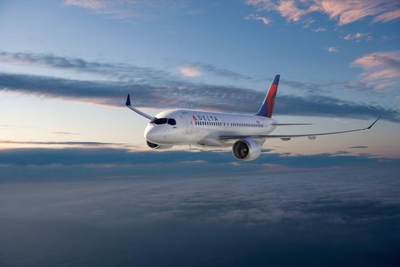 A rendering of a CS100 jet in the Delta livery