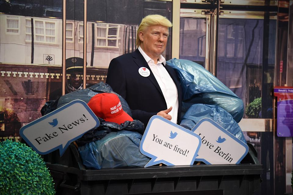 BERLIN, GERMANY - OCTOBER 30: Shortly before the US presidential elections, Madame Tussauds Berlin throws the wax figure of Donald Trump into the trash bin and disposes of it on October 30, 2020 in Berlin, Germany. They expect that he is going to lose, so say they don't need it any longer. (Photo by Tristar Media/Getty Images)