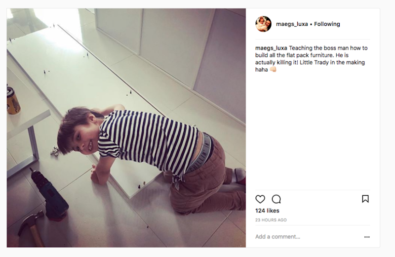 Maegan took to the social media site to post a sweet snap of her girlfriend's son, Elijah, while spending time with him. Source: Instagram / maegs_luxa