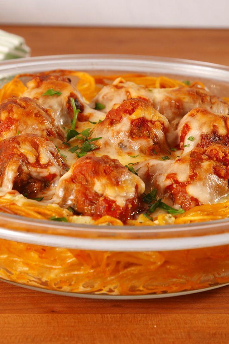 """<p>Always down for a new way to eat pasta.</p><p>Get the <a href=""""https://www.delish.com/uk/cooking/recipes/a28831133/spaghetti-meatball-pie-recipe/"""" rel=""""nofollow noopener"""" target=""""_blank"""" data-ylk=""""slk:Spaghetti & Meatball Pie"""" class=""""link rapid-noclick-resp"""">Spaghetti & Meatball Pie</a> recipe.</p>"""