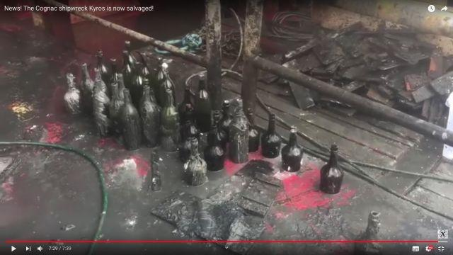 Hundreds of bottles of liquor salvaged from WWI-era Baltic wreck