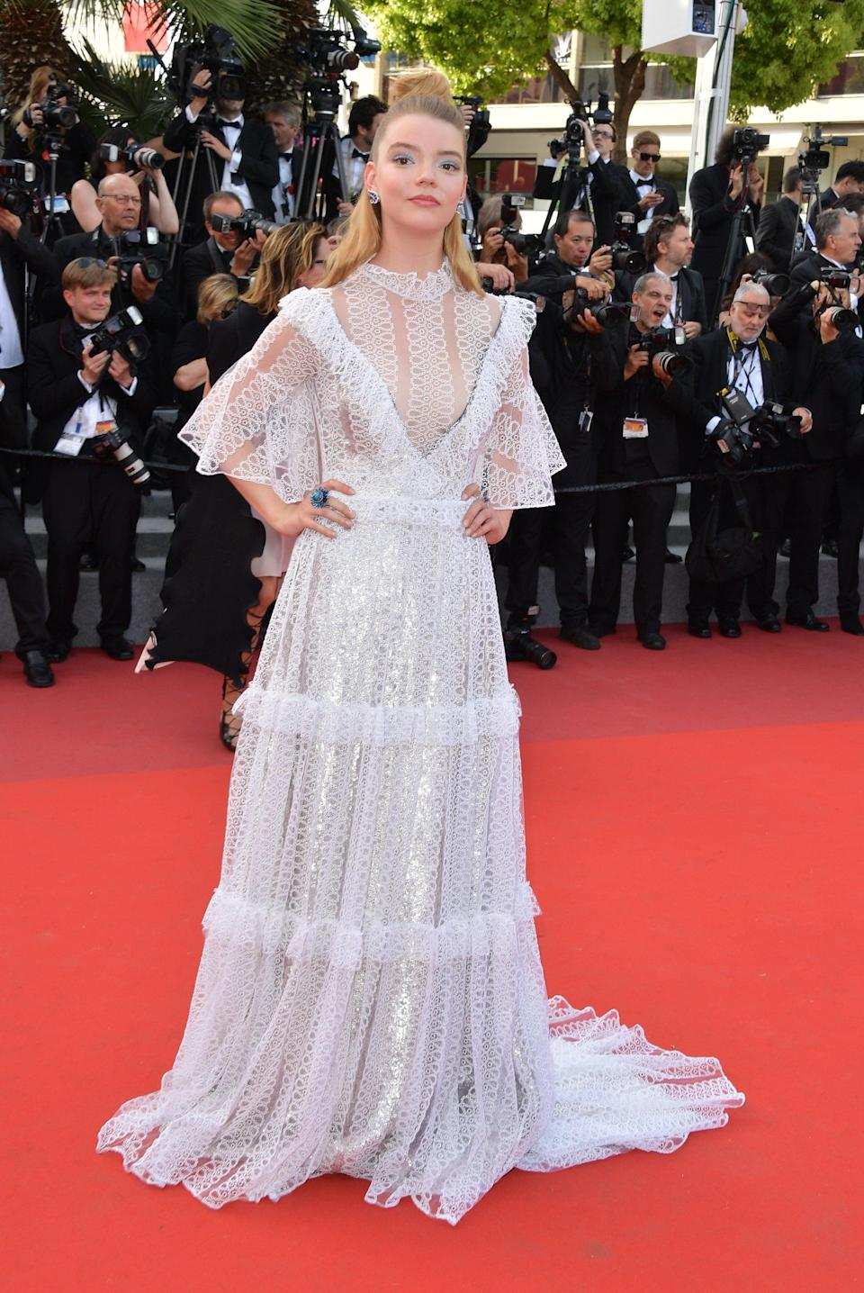<p>Anya wore a Victoriana style Burberry dress and Chopard jewels in Cannes.</p>