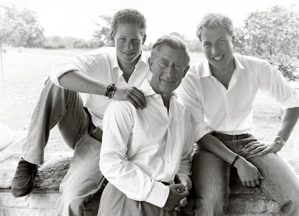 From left, Prince Harry, Prince Charles and Prince William pose for Charles' personal Christmas card in 2004, taken by Mario Testino in the grounds of Highgrove House. [Photo: PA]