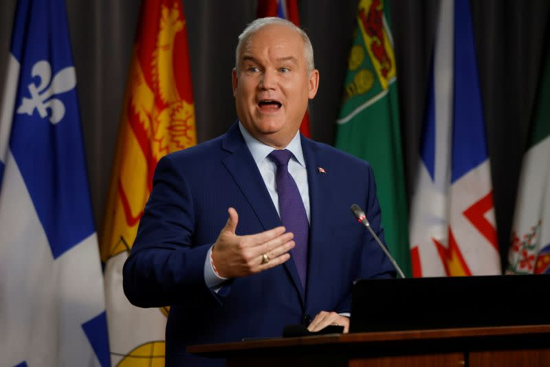 FILE PHOTO: Canada's Conservative Party leader Erin O'Toole attends a news conference in Ottawa