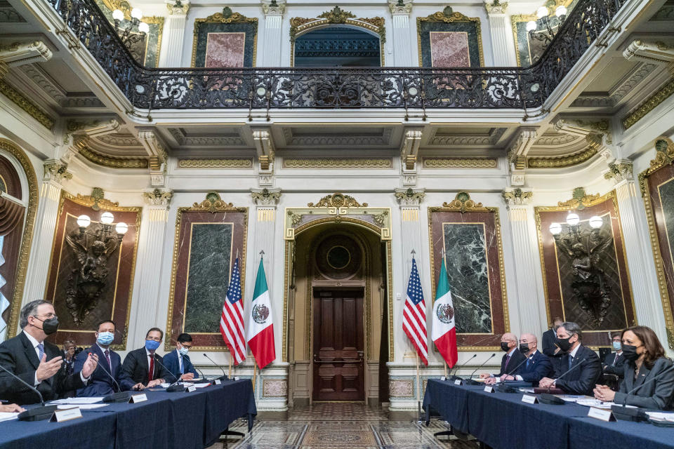 Mexican Foreign Secretary Marcelo Ebrard,, left, accompanied by, Vice President Kamala Harris, right, speaks at a U.S.-Mexico High Level Economic Dialogue meeting in the Indian Treaty Room in the Eisenhower Executive Office Building on the White House Campus in Washington, Thursday, Sept. 9, 2021. (AP Photo/Andrew Harnik)