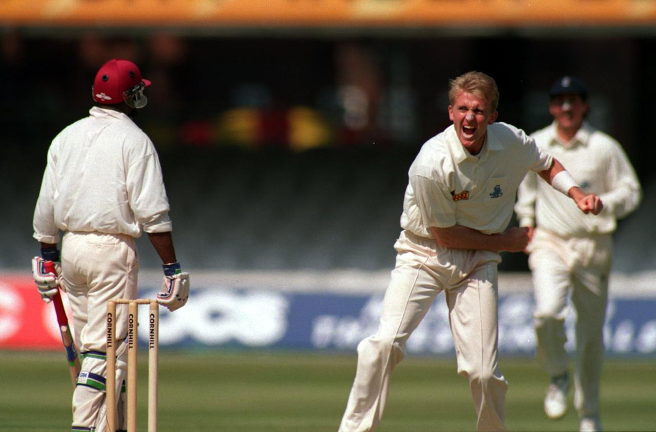 26 JUN 1995:  DOMINIC CORK CELEBRATES THE WICKET OF SHERWIN CAMPBELL AND HIS 5TH OF THE INNINGS DURING THE SECOND TEST AT LORDS ENGLAND V THE WEST INDIES. Mandatory Credit: Graham Chadwick/ALLSPORT
