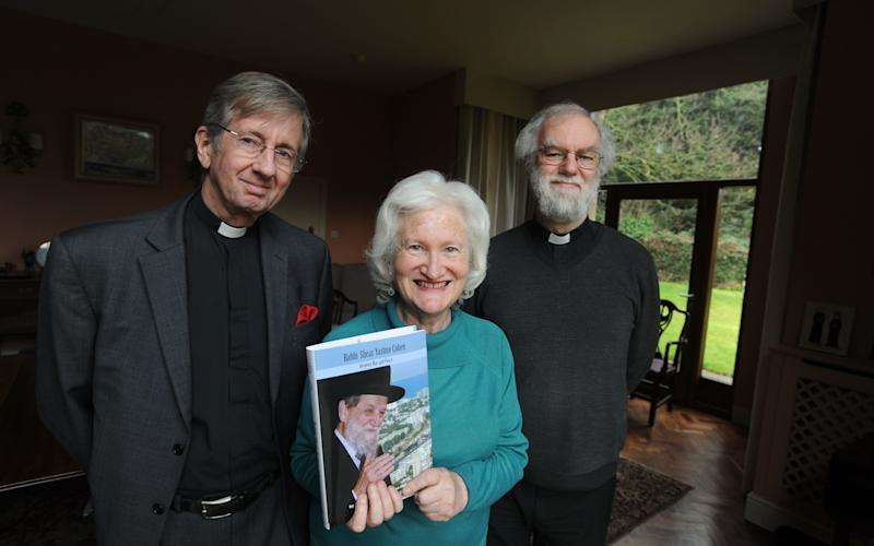 Dr Irene Lancaster with Canon Guy Wilkinson and Rowan Williams, Master of Magdalene College, at the event - Credit: Keith Jones