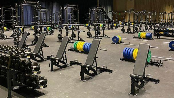 PHOTO: The men's weight room during the NCAA Division I basketball tournament in Indiana, Indianapolis. (Alan Bishop)