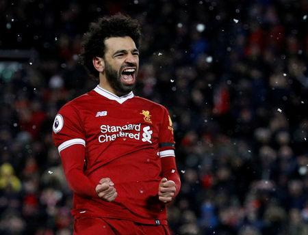 Soccer Football - Premier League - Liverpool vs Watford - Anfield, Liverpool, Britain - March 17, 2018 Liverpool's Mohamed Salah celebrates scoring their fourth goal REUTERS/Phil Noble