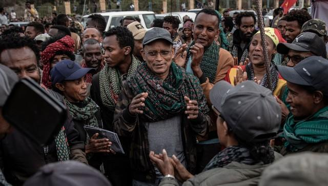 File image of Debretsion Gebremichael, the leader of the ruling Tigray People's Liberation Front, in the regional capital of Mekelle in Ethiopia. Image courtesy: NYT