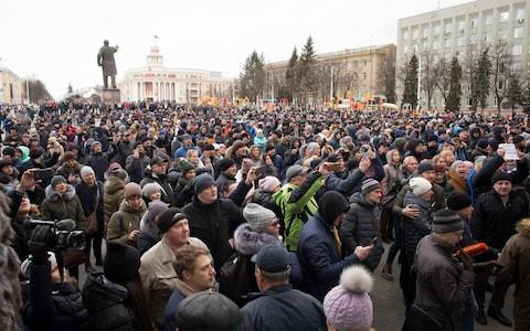 Thousands turned out for the impromptu protests - Credit: Sergei Gavrilenko/AP