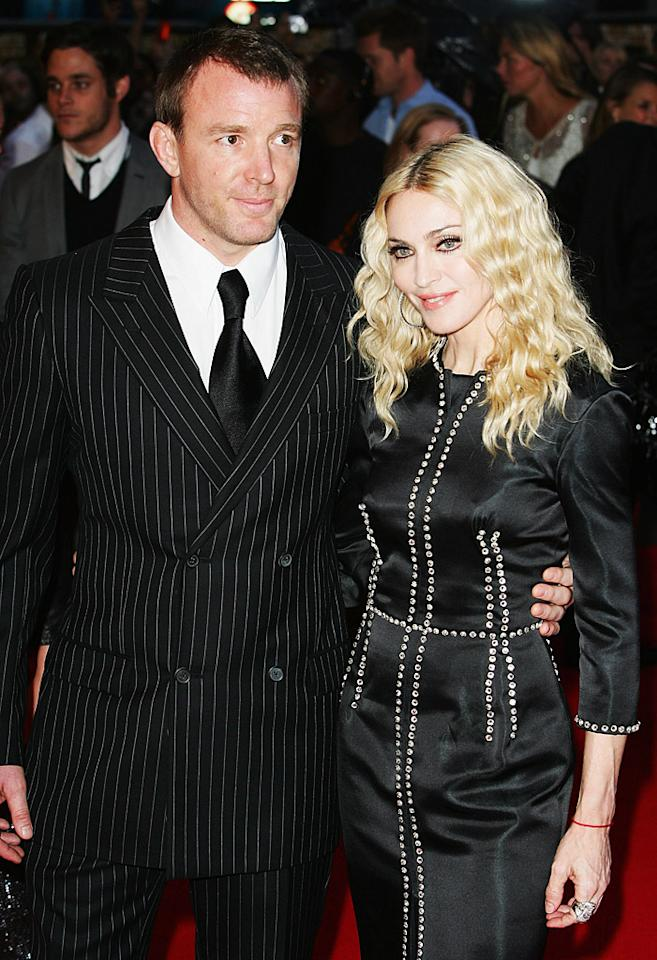 "<p class=""MsoNormal""><span><b>#7 Madonna and Guy Ritchie</b><br> The only female to make the list (we're sure she's thrilled) is none other than pop superstar Madonna. When her divorce from British filmmaker Guy Richie was finalized in 2008, ending the couple's <span style=""font-weight:bold;""></span>eight-year marriage, Madonna, who had one biological son and one adopted son with Ritchie, eventually paid her ex a reported $90 million. The singer, who was previously married to Sean Penn, has said she will never marry again. At $90 million a pop, we don't blame her. </span></p>"