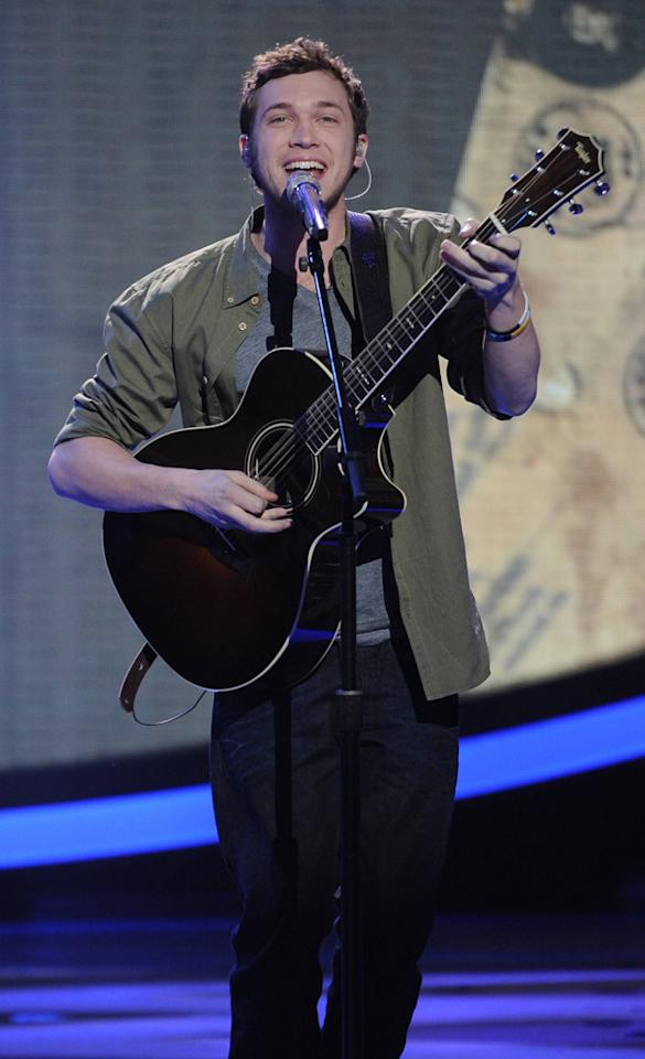 "Phillip Phillips performs ""The Letter"" by The Box Tops ""<a target=""_blank"" href=""http://tv.yahoo.com/american-idol/show/34934"">American Idol</a>."""
