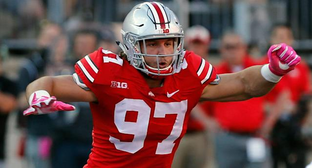 "Ohio State's <a class=""link rapid-noclick-resp"" href=""/ncaaf/players/271372/"" data-ylk=""slk:Nick Bosa"">Nick Bosa</a> is projected to be one of the top picks in the 2019 NFL draft. (AP)"
