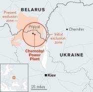 A map showing how Chernobyl's exclusion zone, or 'Zone of Alienation', has enlarged since 1986 - Credit: © Kate Brown 2019
